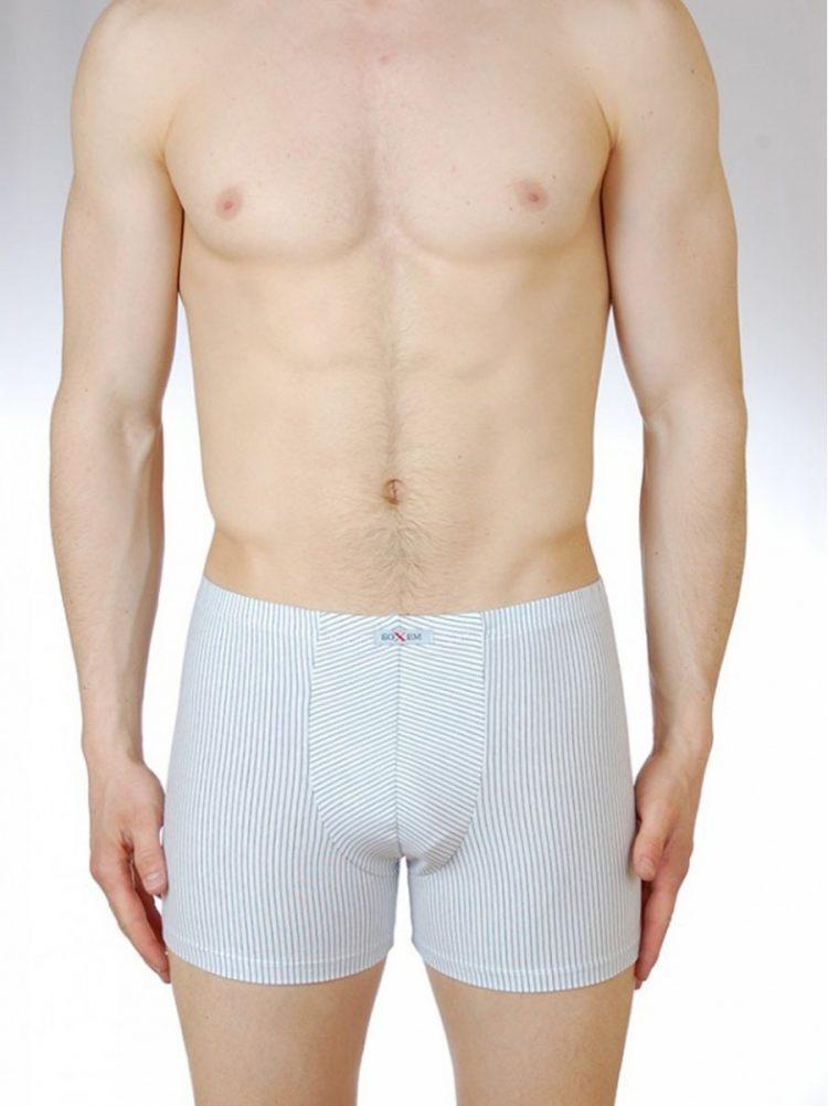 Мъжки боксер от памук бяло райе Бохем 95 в