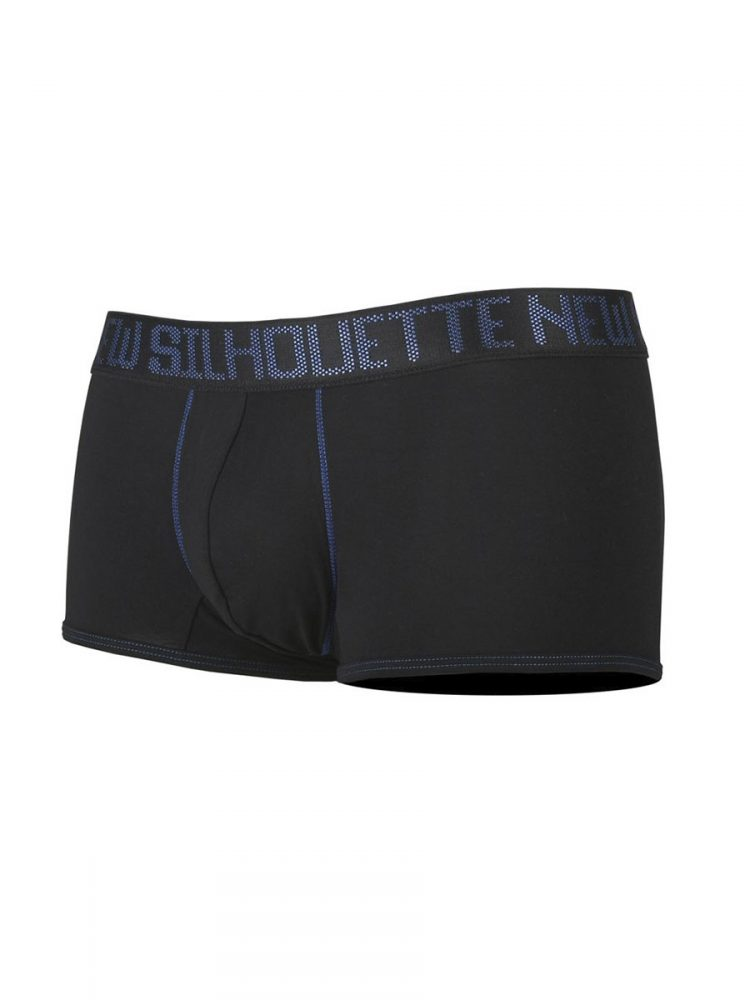 Плитки мъжки боксерки с външен ластик в черно New Silhouette 6640
