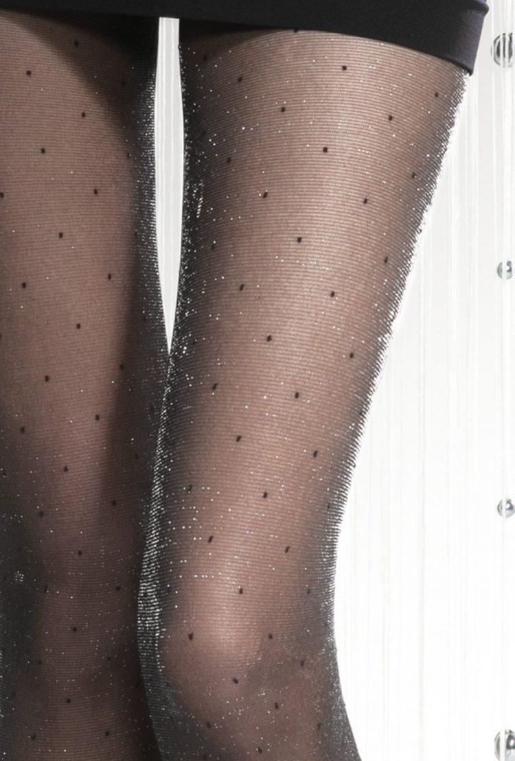 Блестящ фигурален чорапогащник с малки черни точки Gatta Silver Party 06