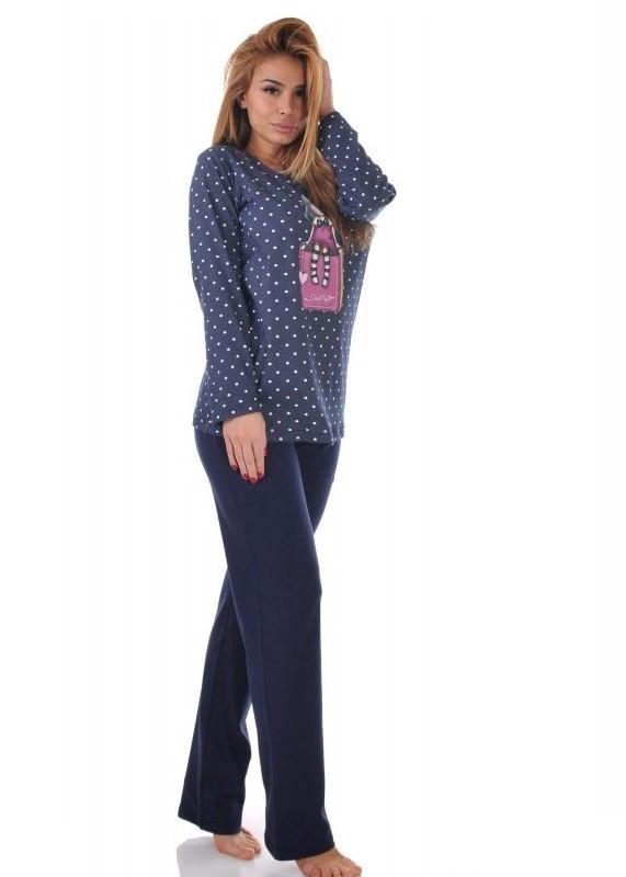 Дамска памучна пижама Desislava 1904 със щампа в тъмно синьо