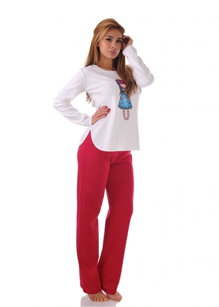 Дамска памучна пижама Desislava 1911 със щампа в червено