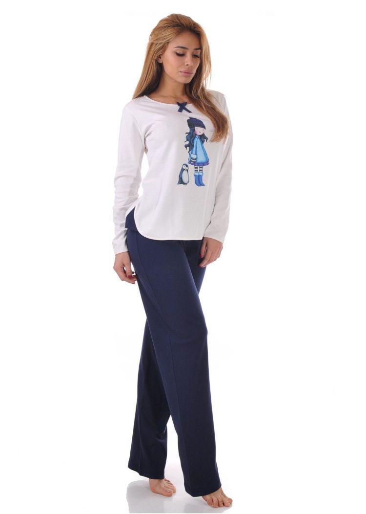 Дамска памучна пижама Desislava 1911 със щампа в тъмно синьо