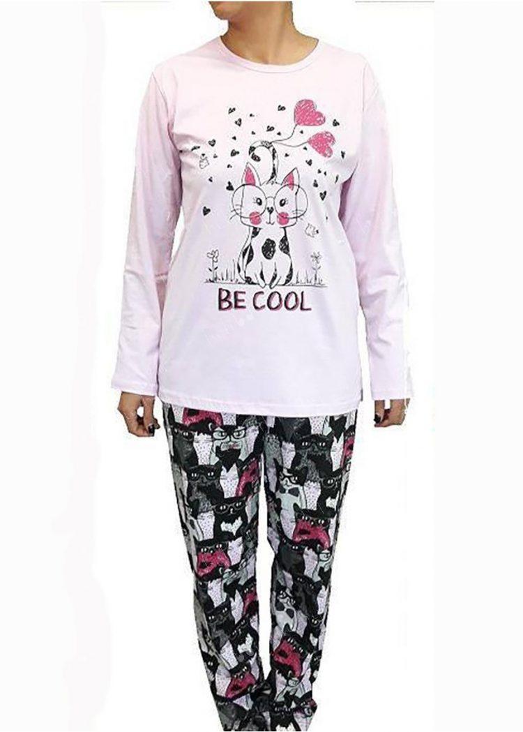 Дамска памучна пижама на котки Братя Гьокови 6252 в светло розово