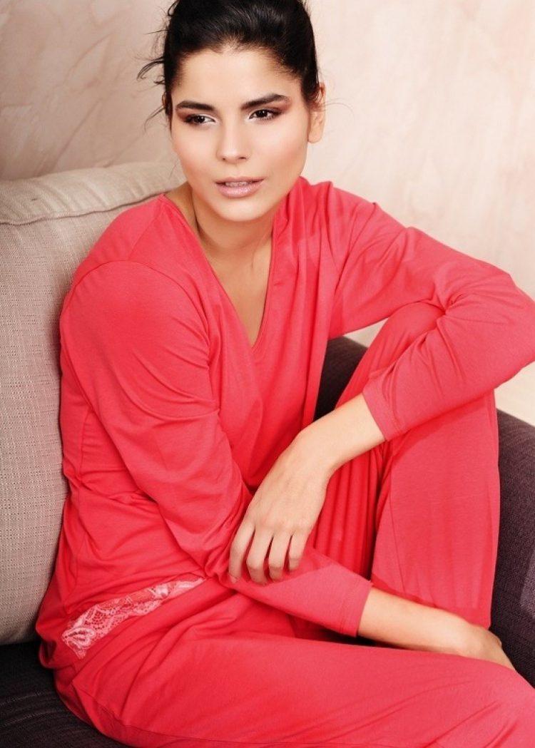 Дамска памучна пижама с дълъг ръкав и дантела New Silhouette 5707