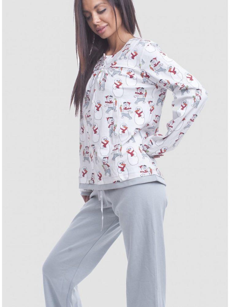Дамска памучна пижама с копчета New Silhouette 5734 със снежни човечета