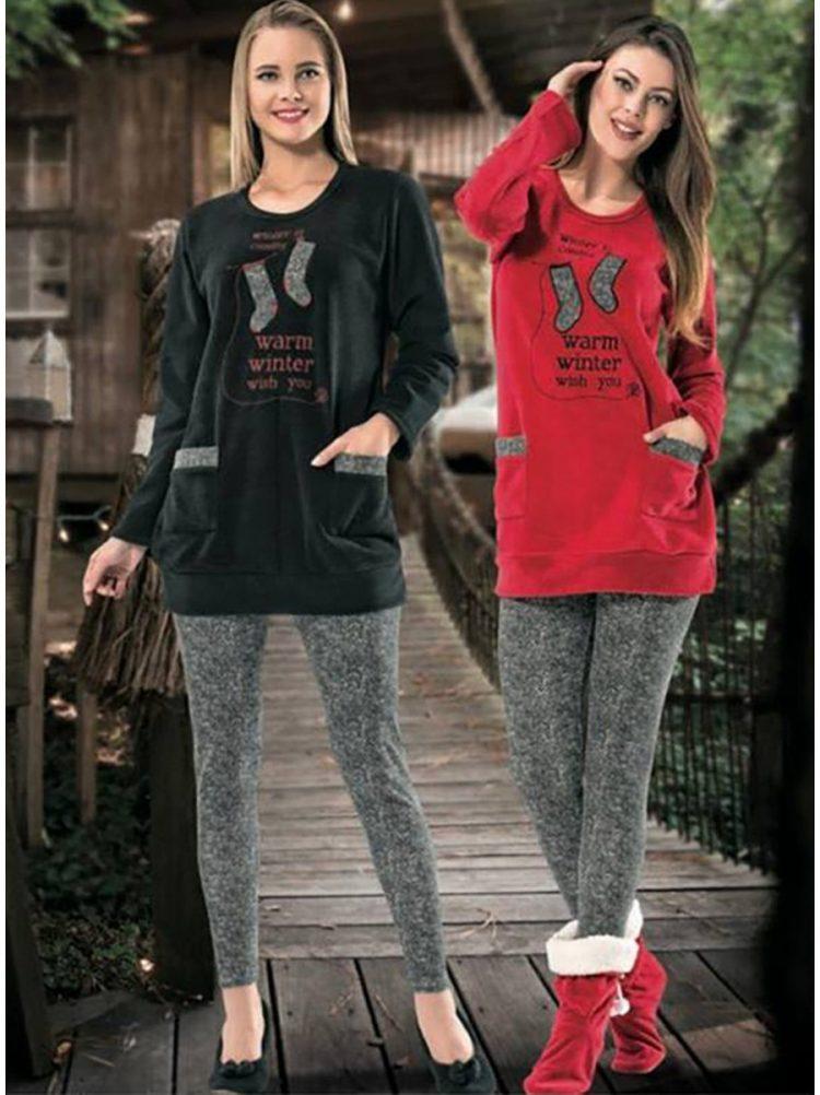 Дамска зимна мека пижама от полар с туника и клин Dika DK 5640 в червено