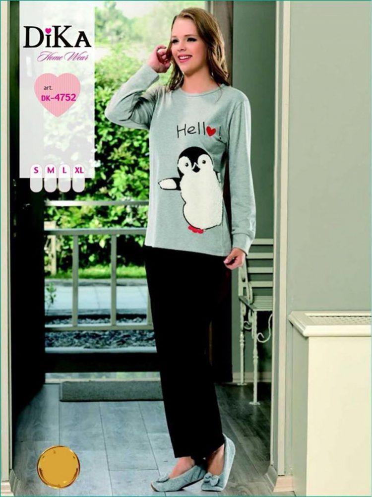 Дамска зимна памучна пижама интерлог Dika DK 4752 с пингвинче в светлосиво