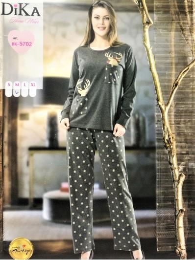 Дамска зимна памучна пижама интерлог Dika DK 5702 с еленчета в тъмно сиво