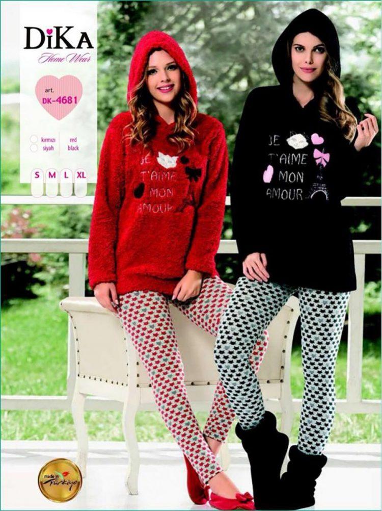 Дамска зимна пухена пижама полар с качулка Dika DK 4681 в червено