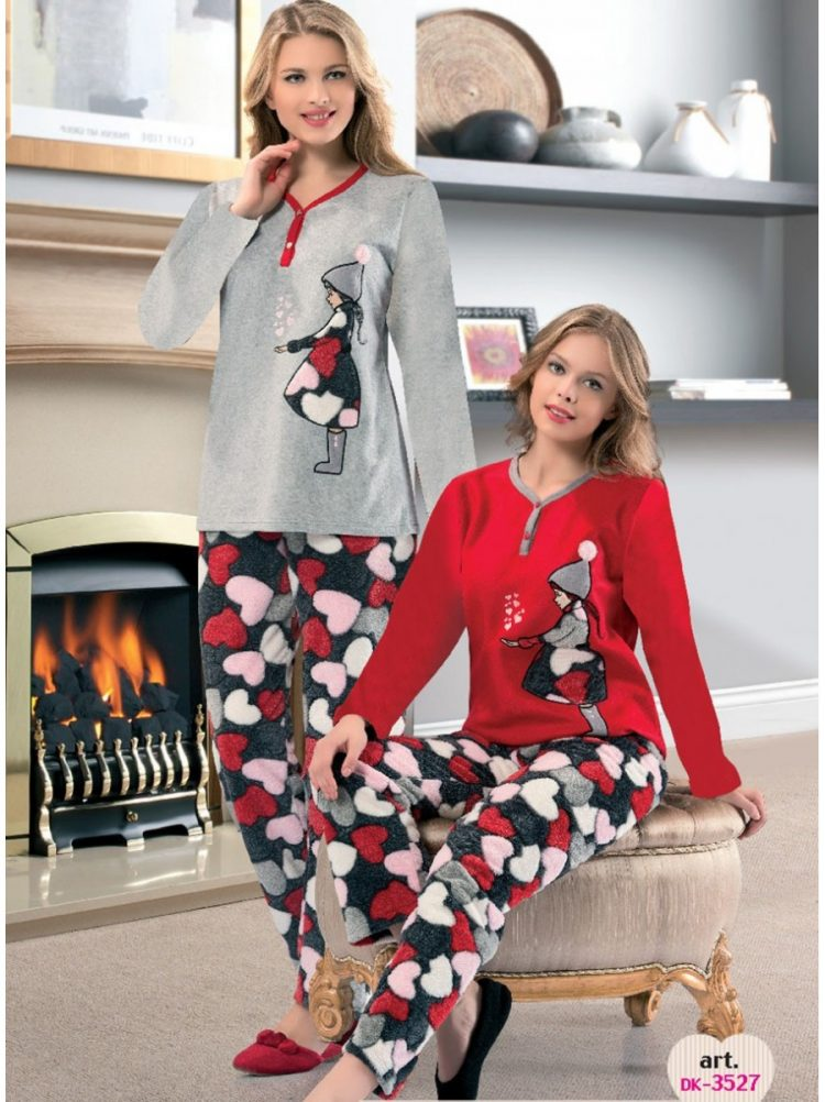 Дамска зимна пухена пижама с копчета от полар Dika DK 3527 в светло сиво