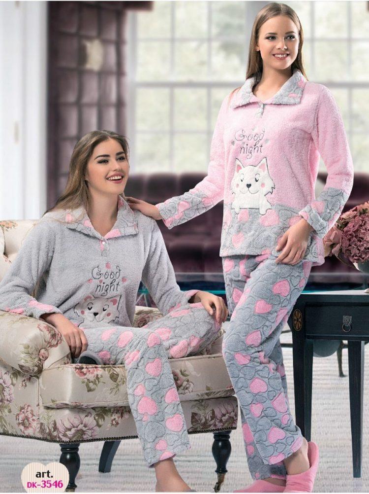 Дамска зимна пухкава пижама полар с яка и копчета Dika DK 3546 в розово с коте
