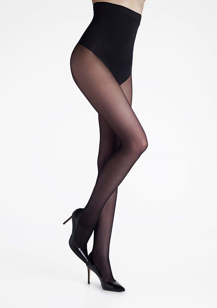 Дамски чорапогащник с висока талия и стягащ колан в черен цвят Marilyn Talia Control 20 Den