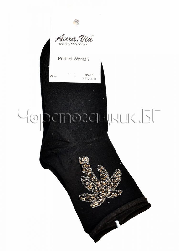 Дамски елегантни къси чорапи с камъчета във формата на палма Aura Via NZC1967 в черно