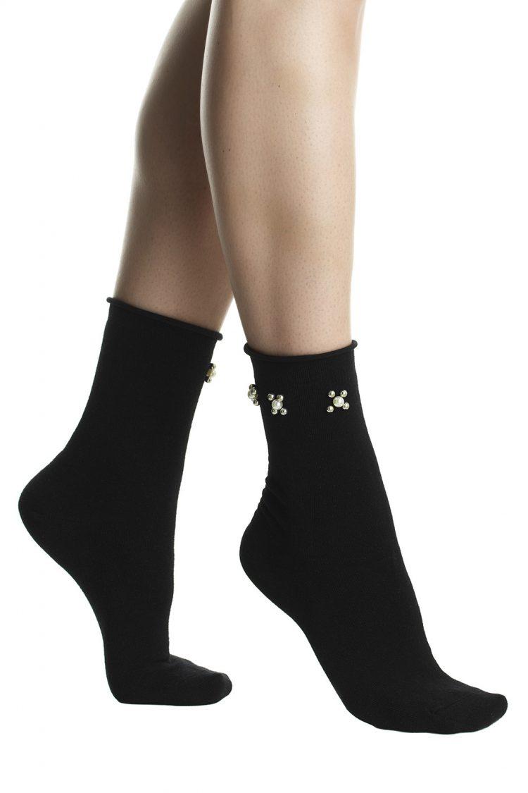 Дамски елегантни къси чорапи с перли Pompea Beatrix в черно