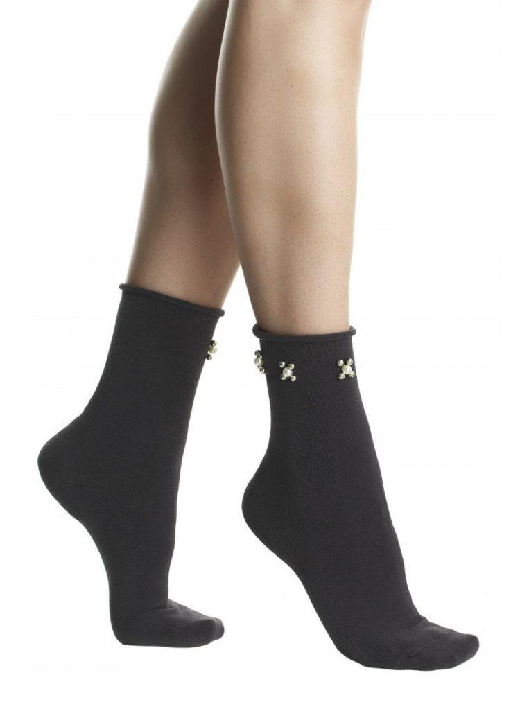 Дамски елегантни къси чорапи с перли Pompea Beatrix в тъмно сиво