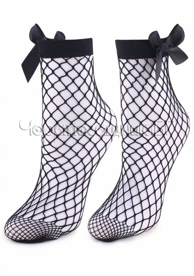 Дамски къси чорапи мрежа с панделка Marilyn Charly M41 в черно