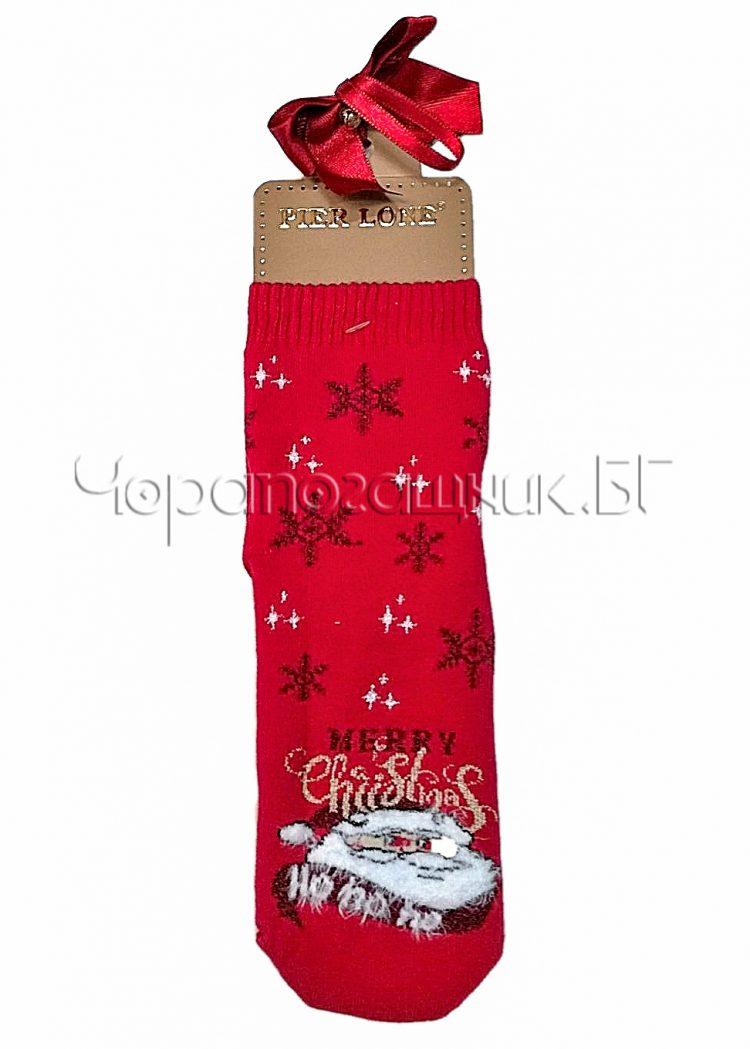 Дамски коледни памучни чорапи Merry Christmas на снежинки с Дядо Коледа Pier Lone в червено