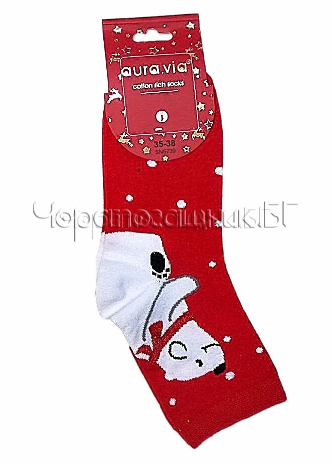 Дамски коледни памучни чорапи с бялo мече Aura Via SN 5739 в червено