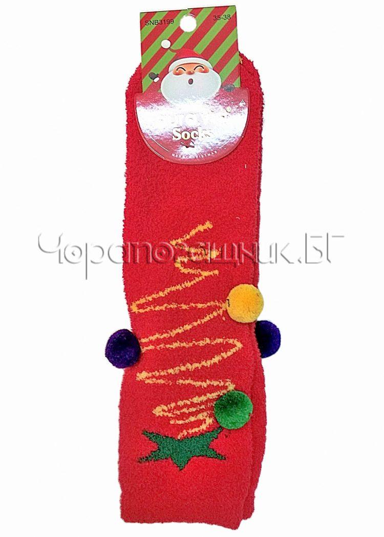 Дамски коледни памучни чорапи с цветни пухкави помпони Aura Via SNB 3199 в червено