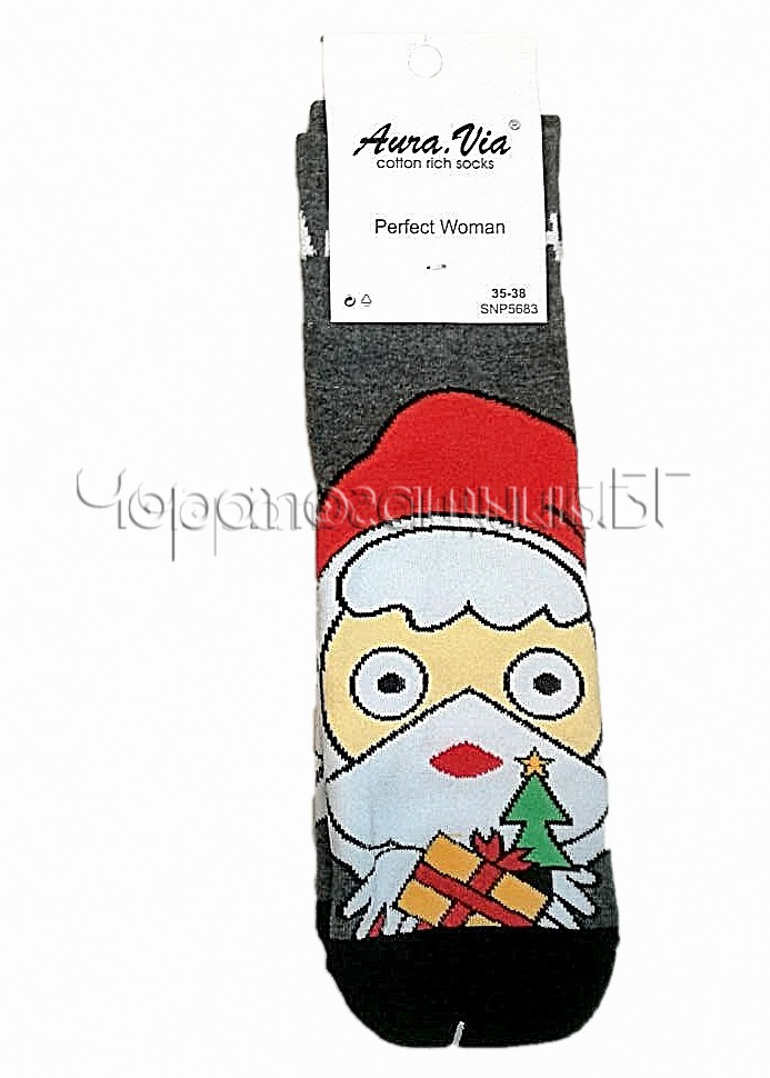 Дамски коледни памучни чорапи с Дядо Коледа Aura Via SNP 5683 в сиво