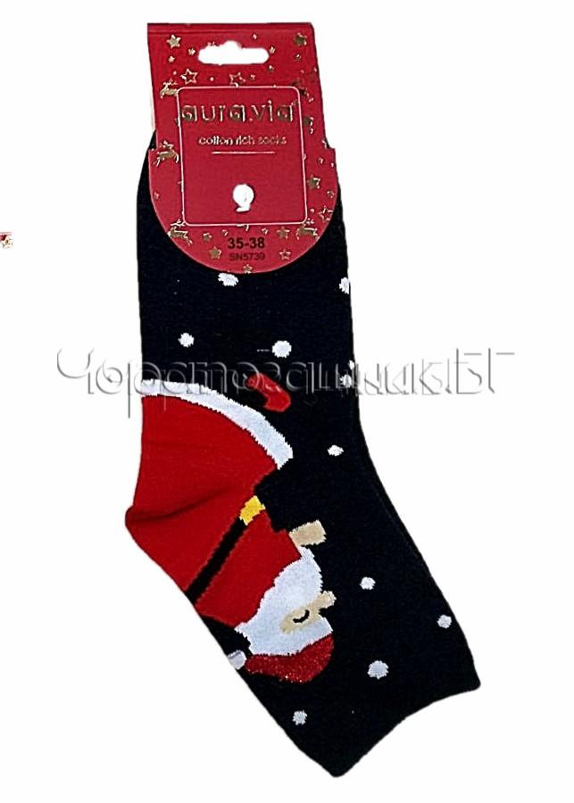 Дамски коледни памучни чорапи с Дядо Коледа на точки Aura Via SN 5739 в черно