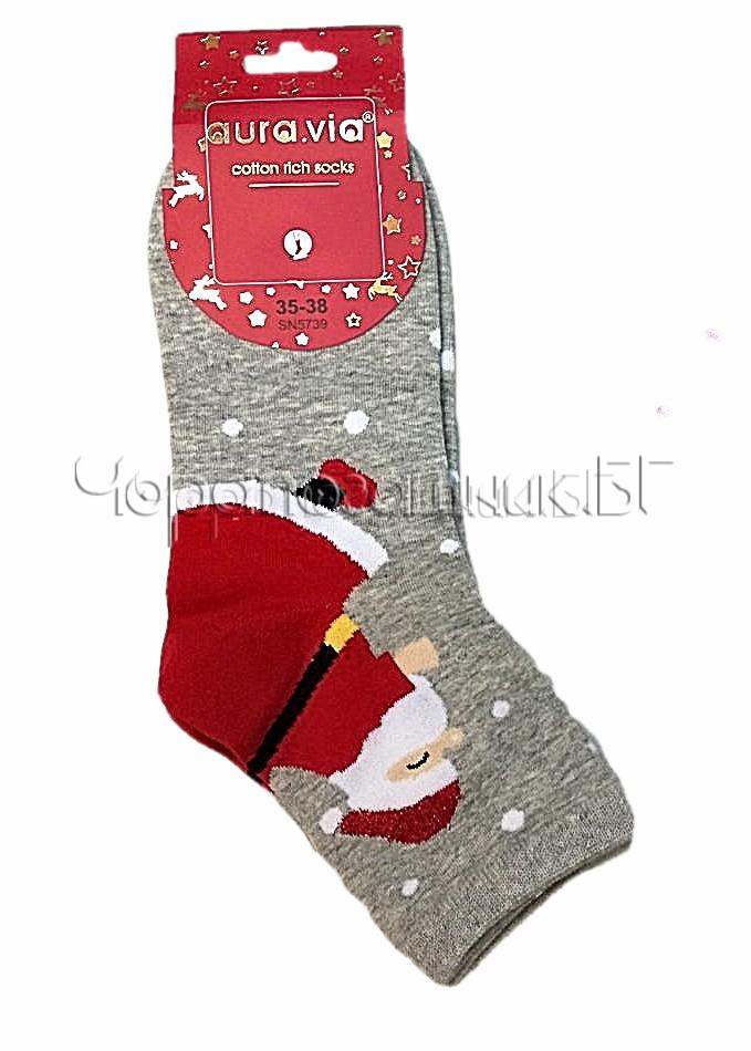 Дамски коледни памучни чорапи с Дядо Коледа на точки Aura Via SN 5739 в сиво