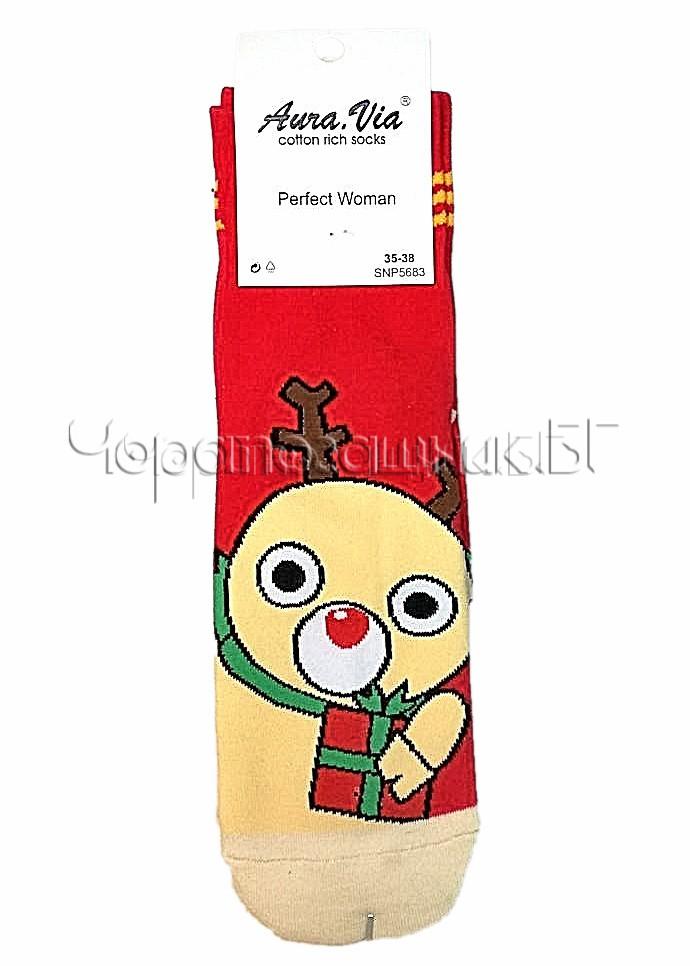 Дамски коледни памучни чорапи с Еленче Aura Via SNP 5683 в червено