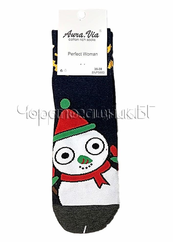 Дамски коледни памучни чорапи със Снежен човек Aura Via SNP 5683 в тъмно синьо