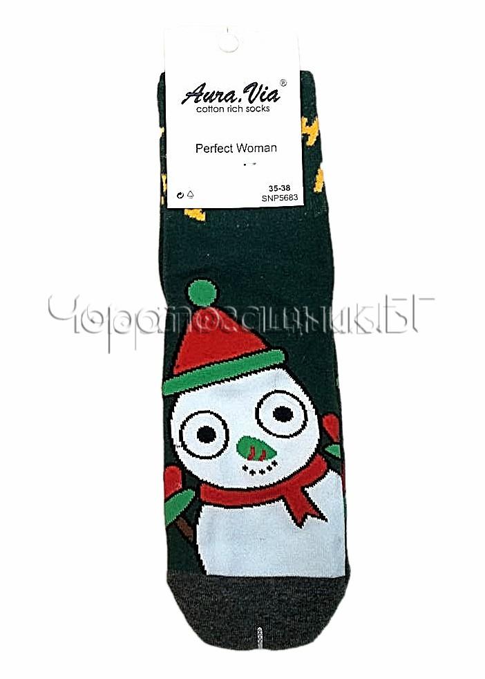 Дамски коледни памучни чорапи със Снежен човек Aura Via SNP 5683 в зелено