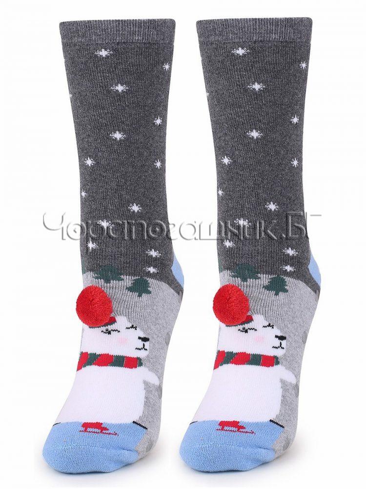 Дамски коледни термо чорапи на снежинки с мече и помпон Marilyn 7461 в сиво