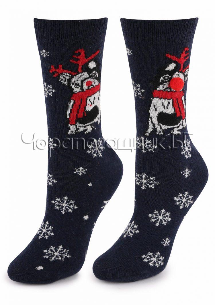Дамски коледни вълнени чорапи на снежинки с кученце с носле от помпон Marilyn R32 в черно
