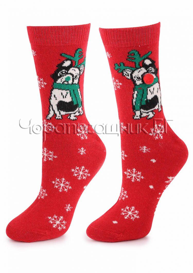 Дамски коледни вълнени чорапи на снежинки с кученце с носле от помпон Marilyn R32 в червено