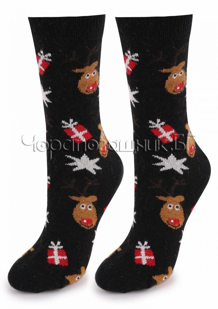 Дамски коледни вълнени чорапи с еленчета Marilyn R26 в черно