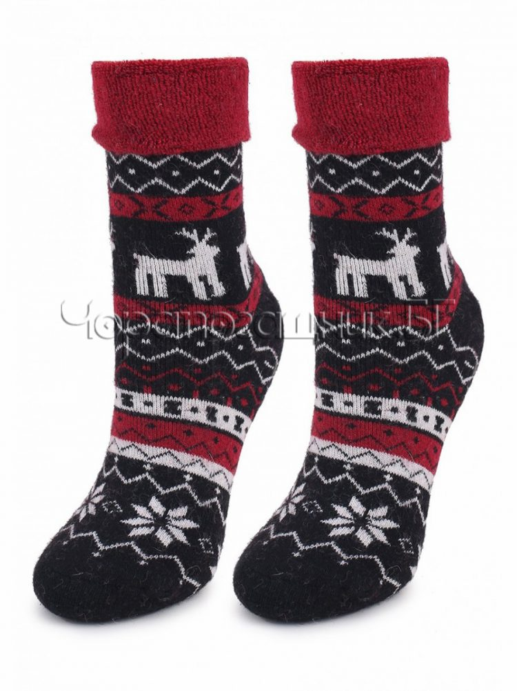 Дамски коледни вълнени чорапи с коледни мотиви Marilyn 7460 в черно