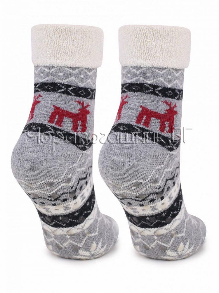 Дамски коледни вълнени чорапи с коледни мотиви Marilyn 7460 в сиво