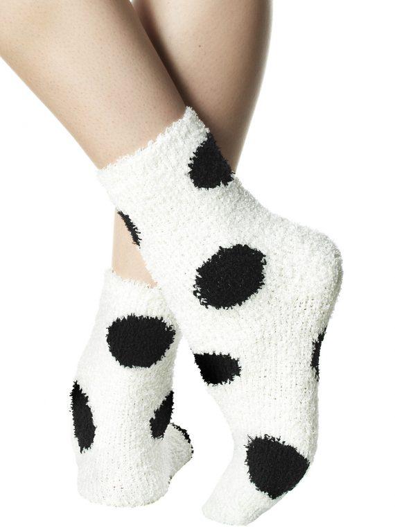 Дамски меки къси чорапи на големи черни точки в бяло Pompea Animal Polka Dots