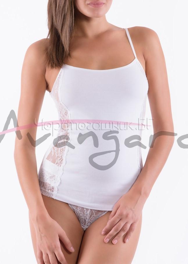 Дамски памучен корсаж с тънки презрамки и дантела Avangard A-118-2 в бяло