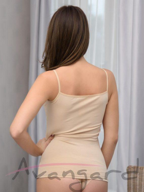 Дамски памучен корсаж с тънки презрамки и дантела Avangard A-118-4 в телесно