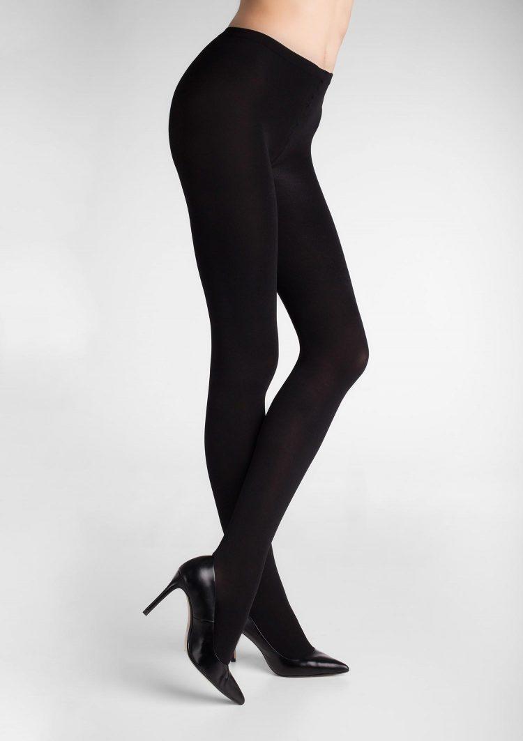 Дамски плътен чорапогащник от 3D микрофибър в черен цвят Marilyn Micro Shine 100 Den