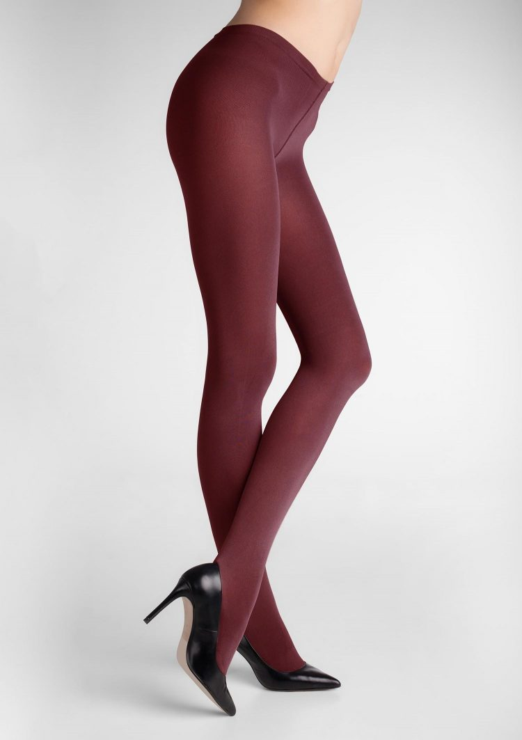 Дамски плътен чорапогащник от 3D микрофибър в цвят бордо Marilyn Micro Shine 100 Den