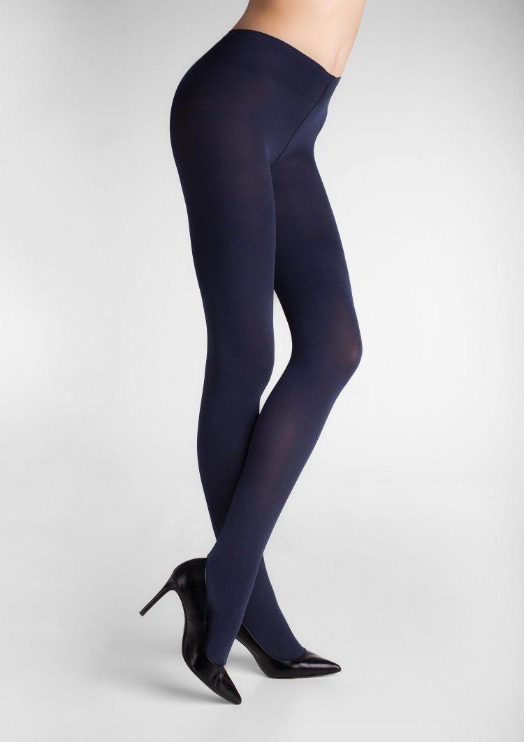 Дамски плътен чорапогащник от 3D микрофибър в син цвят Marilyn Micro Shine 100 Den