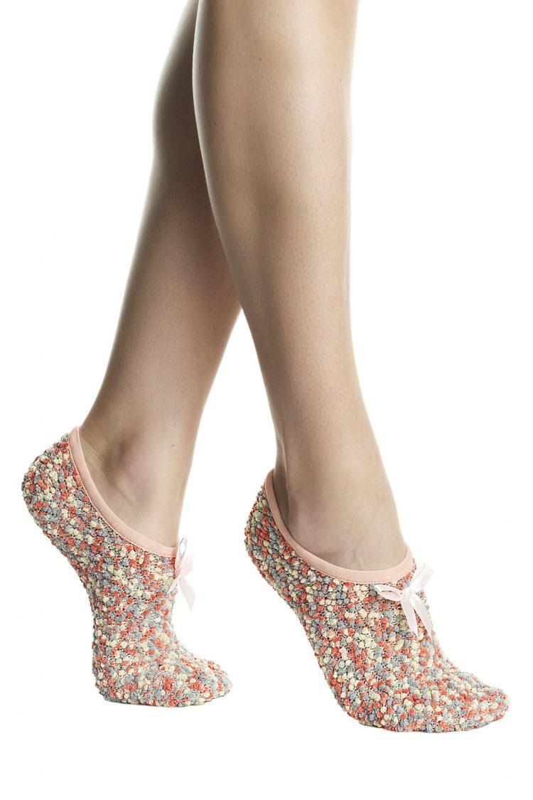 Дамски пухкави чорапи терлик със стопери Pompea Diana в коралов меланж