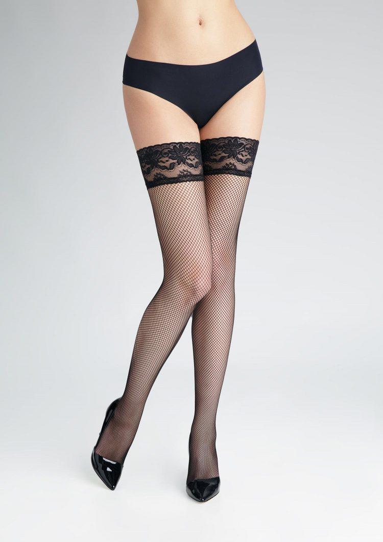 Дамски силиконови чорапи мрежа в черен цвят Marilyn Amore Cabaret