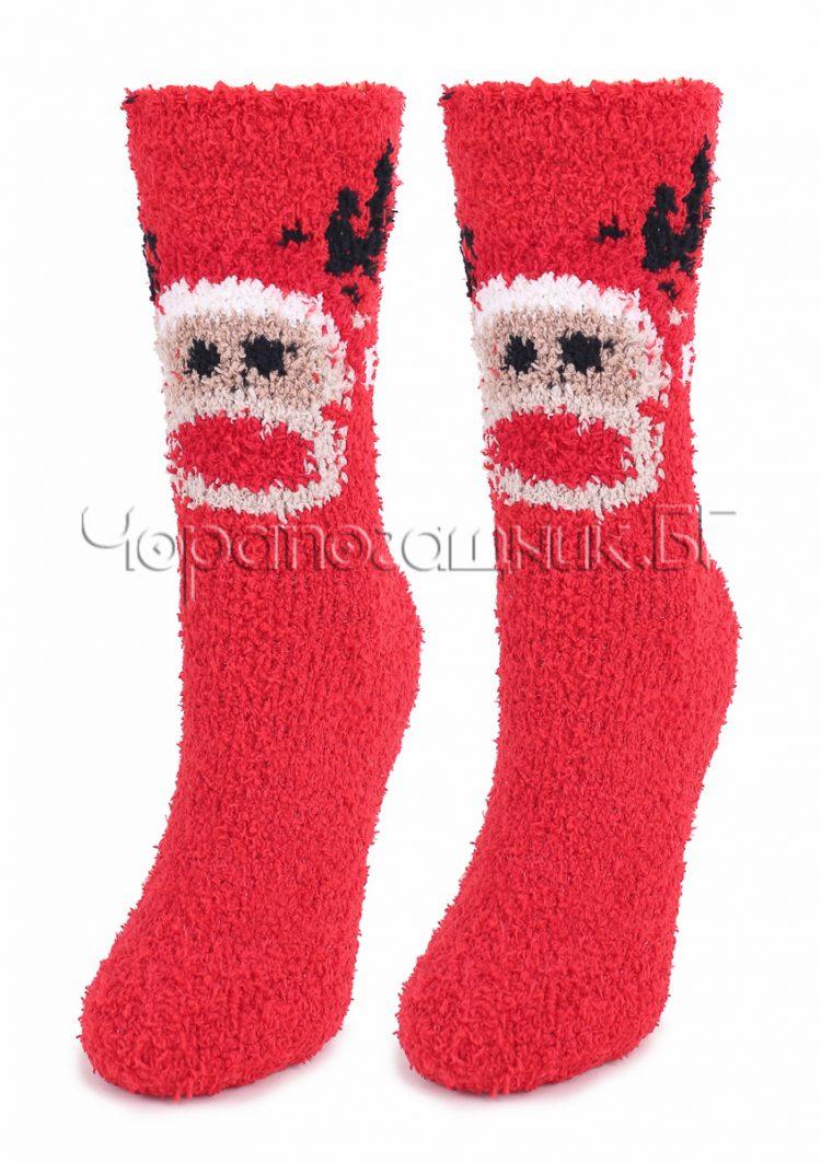 Дамски топли пухкави чорапи с еленче Marilyn 7235 в червено