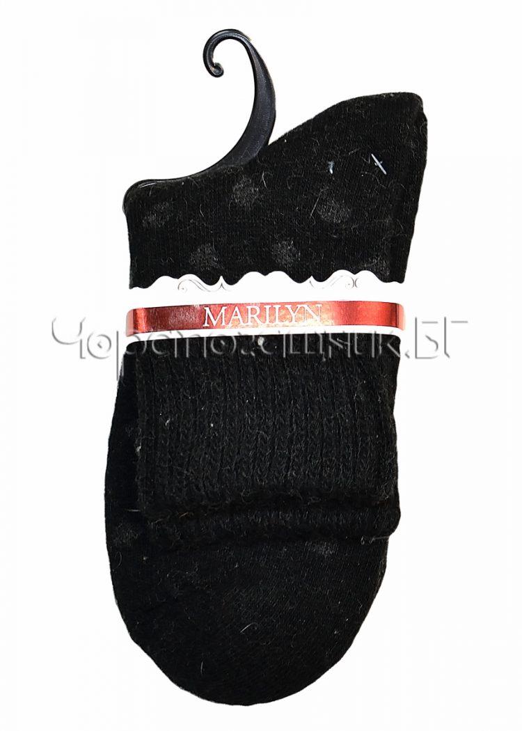 Дамски топли вълнени чорапи от ангора на точки Marilyn E43 в черно
