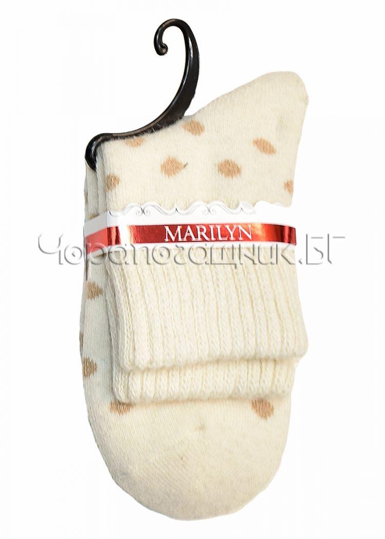 Дамски топли вълнени чорапи от ангора на точки Marilyn E43 в екрю