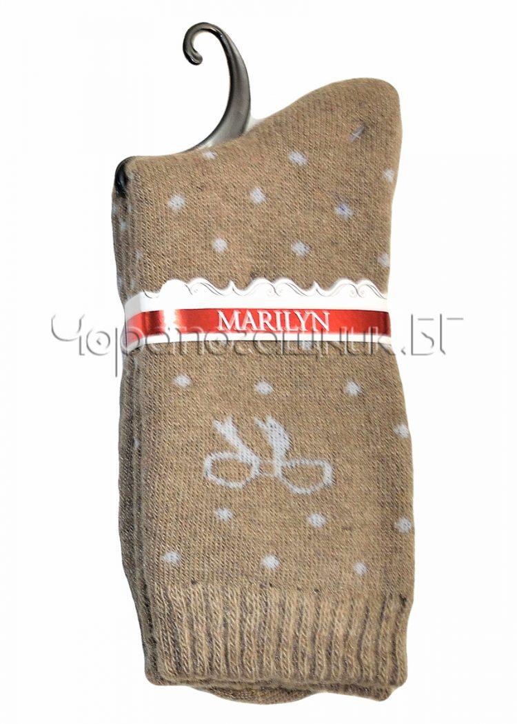 Дамски топли вълнени чорапи от ангора на точки с панделка Marilyn E65 в бежово