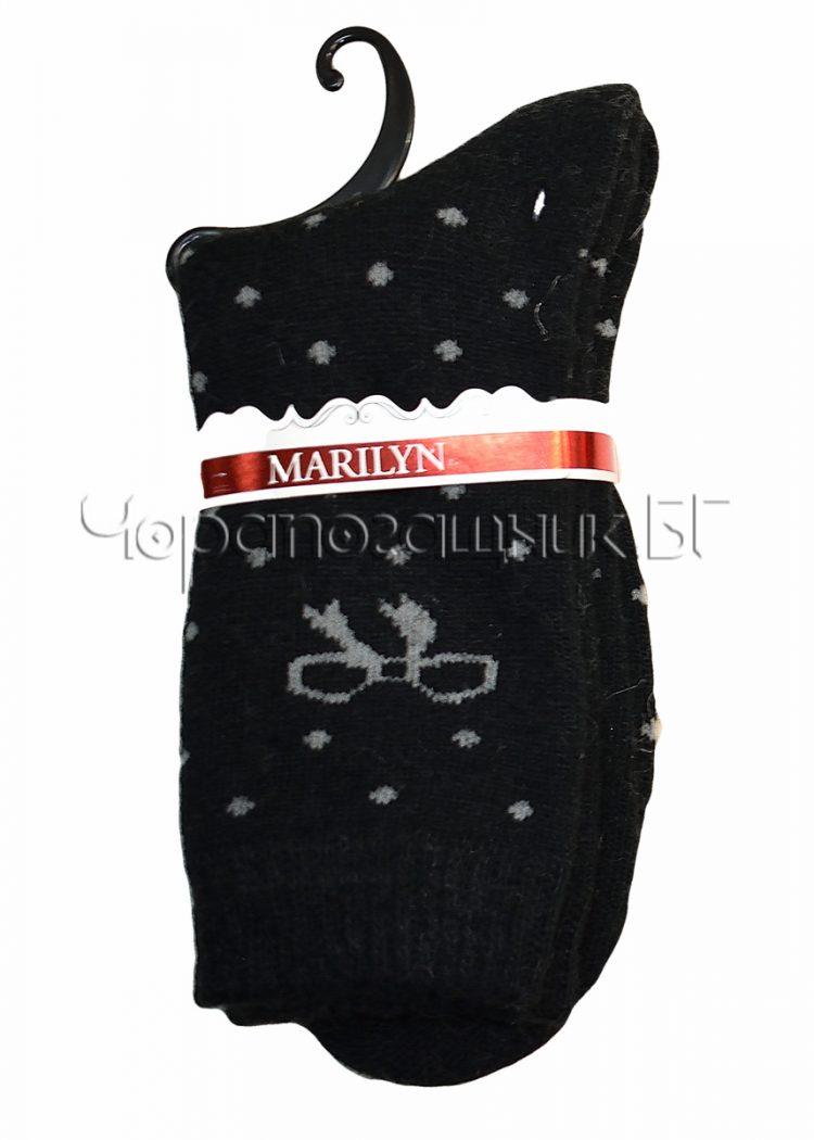 Дамски топли вълнени чорапи от ангора на точки с панделка Marilyn E65 в черно