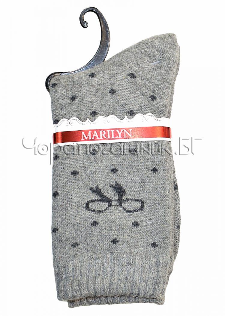 Дамски топли вълнени чорапи от ангора на точки с панделка Marilyn E65 в светло сиво