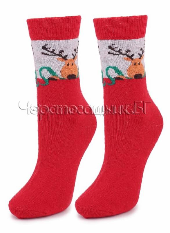 Дамски топли вълнени чорапи от ангора с еленче Marilyn N30 в червено